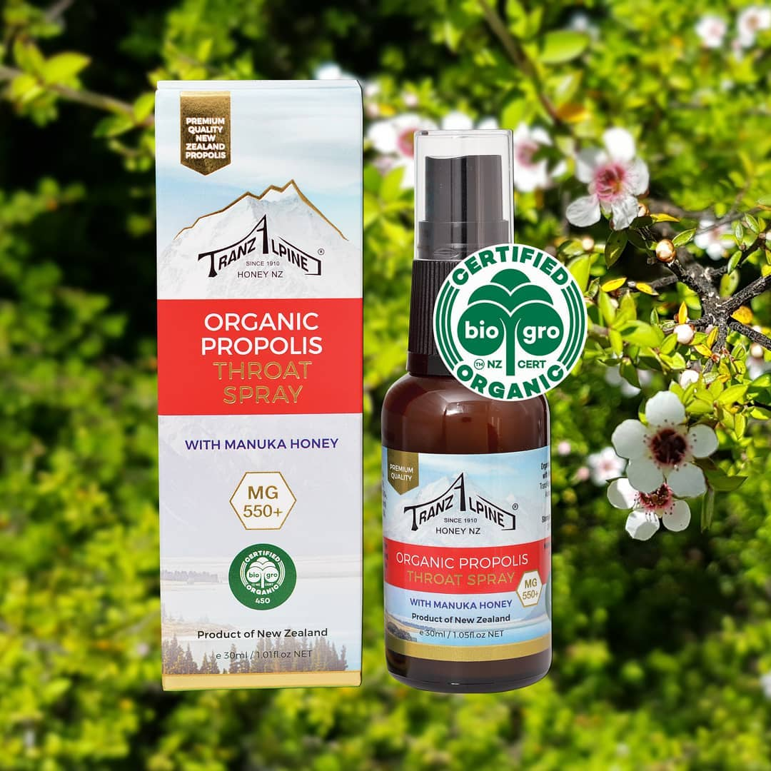 TranzalpineHoney Organic Propolis Throat Spray